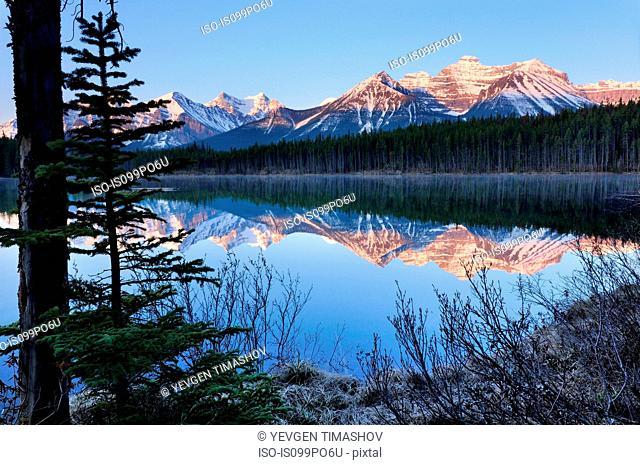 Herbert Lake and Bow Range, Banff National Park, Alberta, Canada