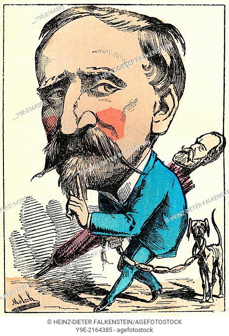 Henri Eugène Philippe Louis d'Orléans, duc d'Aumale, 1822-1897, a French politician, political caricature, 1882, by Alphonse Hector Colomb pseudonym B