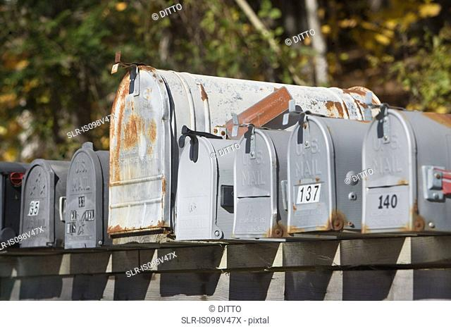Mail boxes in a row
