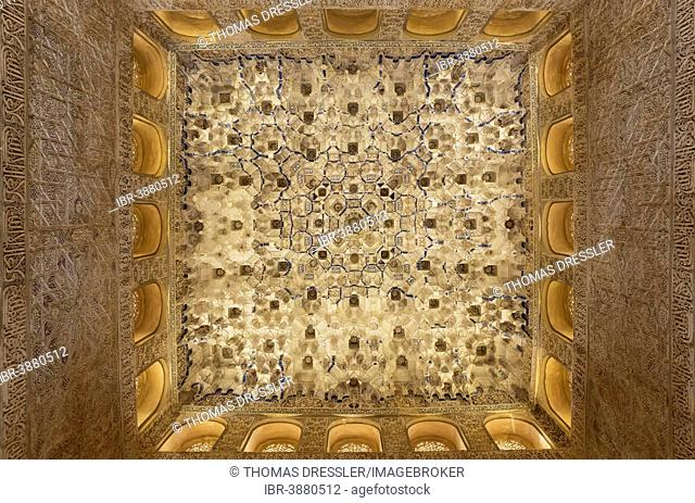 Moorish decoration at the ceiling of the Hall of the Kings, Sala de los Reyes, Alhambra palace, Granada, Granada province, Andalusia, Spain