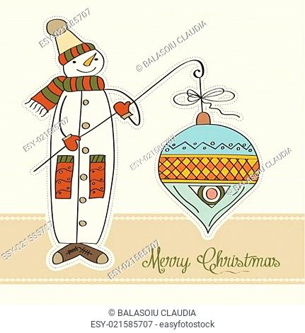 snowman with big Christmas ball