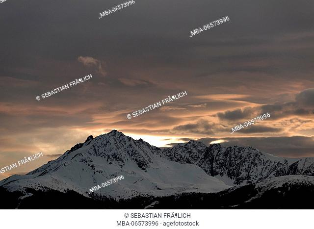 Afterglow above the Saile or Nockspitze near Innsbruck, Tyrol
