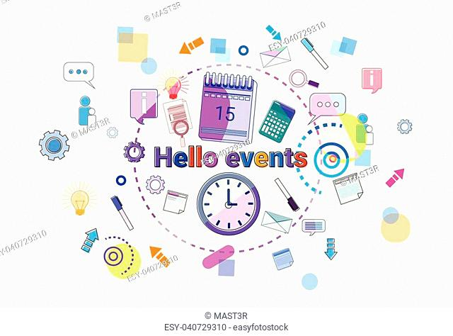 Hello Events, Business Schedule Time Management Concept Web Banner Vector illustration