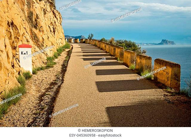 Scenic road with views over Altea bay, Costa Blanca, Spain