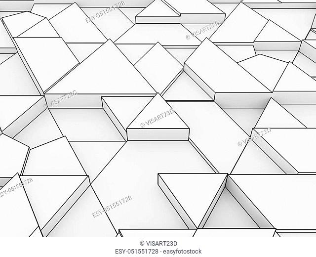 equilateral triangles - white abstract background outlined - 3d rendering