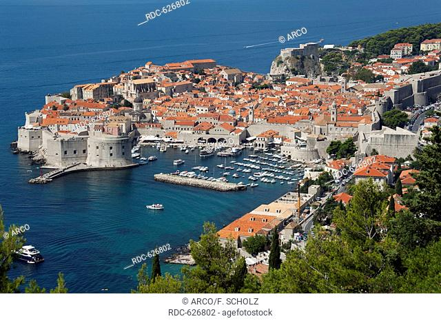 View of old town, Dubrovnik, Dalmatia, Croatia