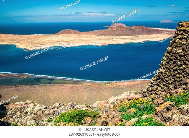 view of graciosa island from mirador del rio,lanzarote island,canary islands,spain