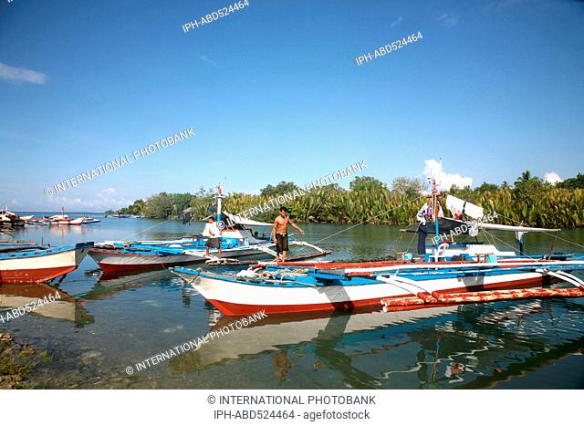 Philippines Bohol Fishing boats on the river at Loay
