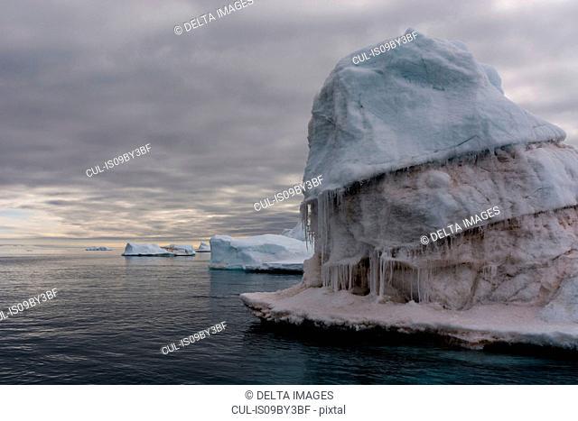 Seascape with icebergs, Vibebukta, Austfonna, Nordaustlandet, Svalbard, Norway