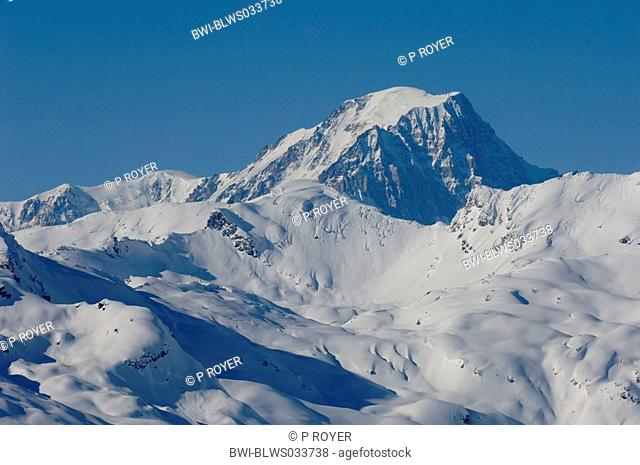 Mont Blanc, with 4792 m the highest mountain of the Alps, France, Sainte Foy