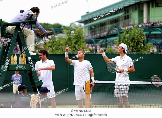 2015 Wimbledon Championship - Day 4 - Leyton Hewitt disputing a call in doubles match Featuring: Leyton Hewitt, Kokkinakis Where: London