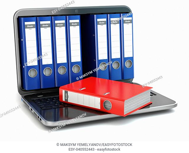 Data storage. Laptop with file ring binders. 3d