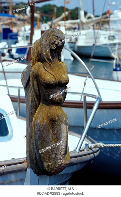 Wooden figurehead at boat Colonia Sant Jordi Majorca Balearic Islands Spain