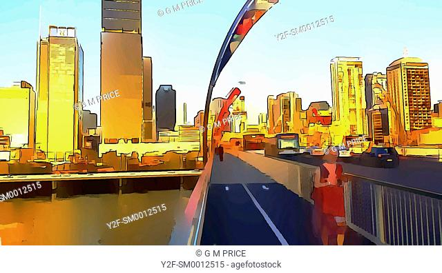 cartoon filter view of woman and traffic crossing Victoria bridge and Brisbane city skyline