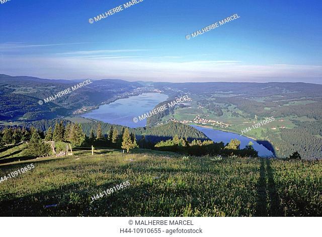 Switzerland, Europe, Vaud, Dent de Vaulion, mountain, Jura, lake, valley, landscape, Lac de Joux