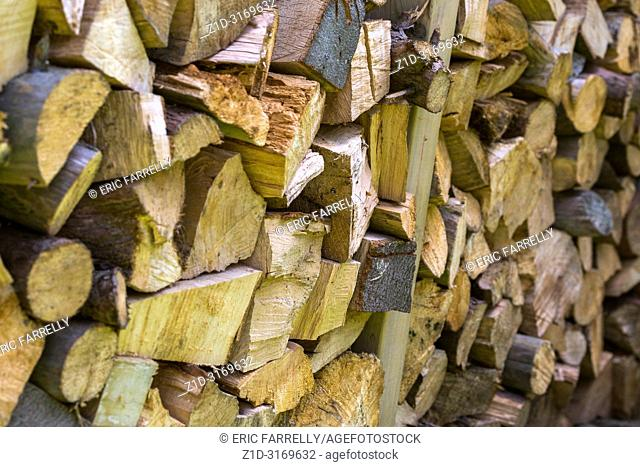 Stacked timber for burning