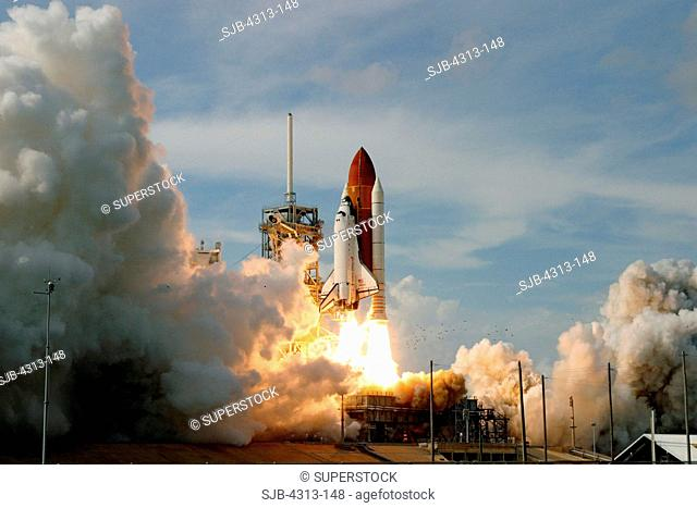 Atlantis, with the Columbus laboratory, launches for the ISS International Space Station on STS-122, February 7, 2008