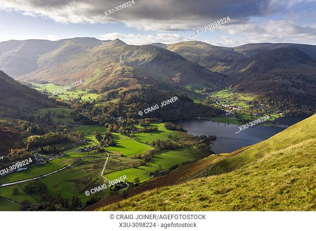 View from Place Fell over Ullswater to Patterdale, Glenridding and the Helvellyn mountain range in the Lake District National Park, Cumbria, England