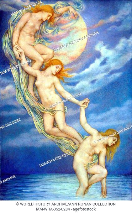 Moonbeams dipping into the Sea (1919), by Evelyn De Morgan (30 August 1855 – 2 May 1919); English Pre-Raphaelite painter
