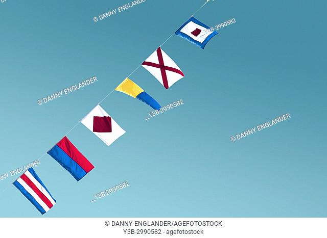 Minimalist and colorful view of maritime signal flags
