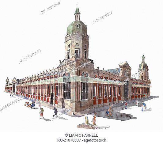 Watercolor painting of Smithfield Market, London