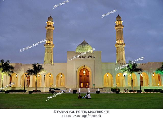 Sultan Qaboos Mosque at dusk, classical Medina architecture, Salalah, Orient, Oman