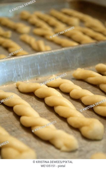 Baking trays of Anise Cookies ready to go in the oven