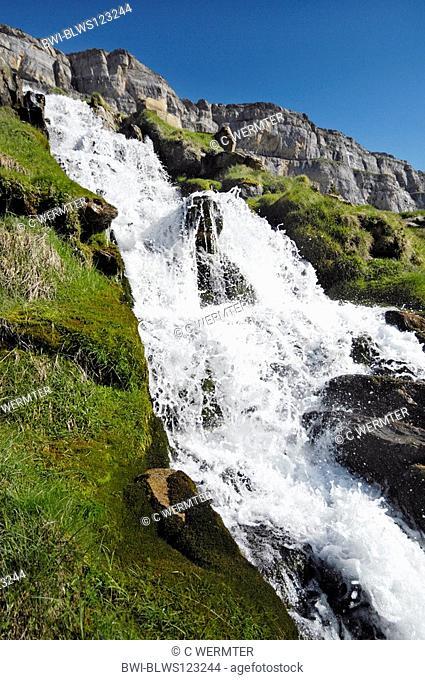 waterfall in the Ordesa Valley, Spain, Pyrenaeen, NP Ordesa