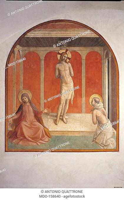 Christ at the Column, by Guido di Pietro (Piero) known as Beato Angelico, 1438 - 1446, 15th Century, fresco, . Italy, Tuscany, Florence, San Marco Convent