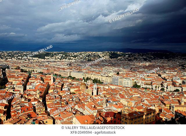 Grey and cloudy sky before the storm above the roof of the old town in Nice city, Alpes-Maritimes, Provence-Alpes-Côte d'Azur, France