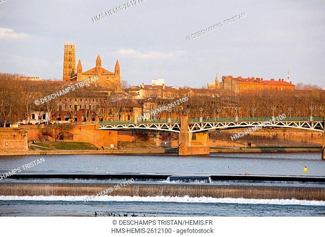 France, Haute Garonne, Toulouse, Jacobins church and Saint Pierre bridge