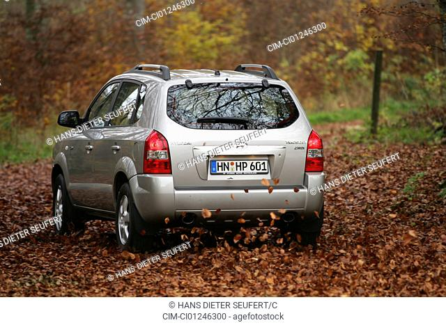 Car, Hyandai Tuscon 2.0 CRDi, cross country vehicle, model year 2004-, silver, driving, diagonal from the back, rear view, Herbst, Foliage, country road