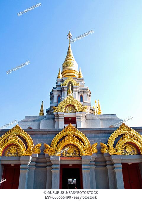 Thai contemporary pagoda, Srinakarinthara Mahasandhikiri Pagoda on Mae Salong hill, Chiang rai, Thailand