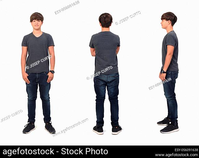 front, side and back view of same teenage boy with on white background