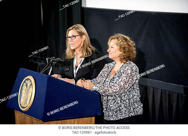 Kim A. Snyder and Maria Cuomo Cole speak at the premier of Newtown at the Landmark Sunshine Theater on October 7, 2016 in New York, New York