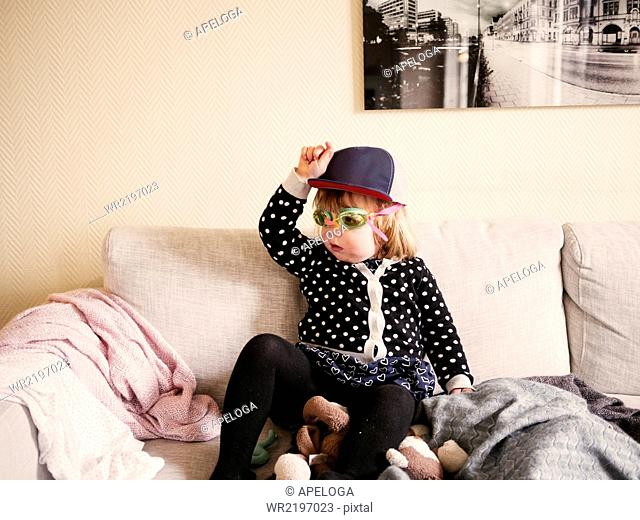 Girl having fun on couch