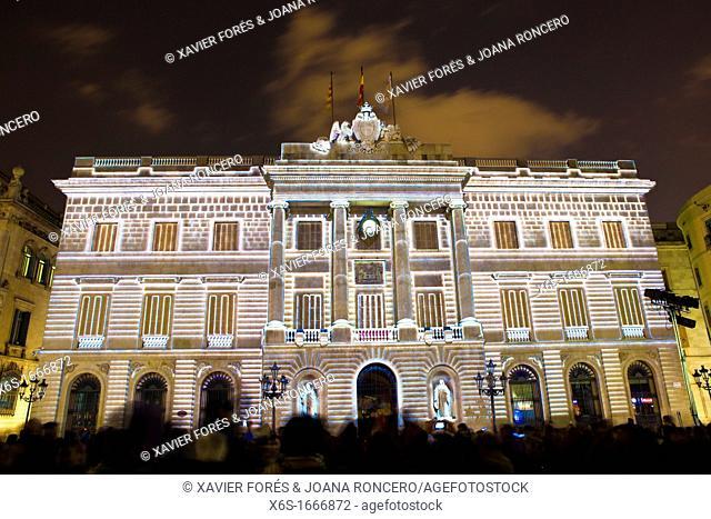City hall lighting during the Santa Eulalia celebration in Barcelona, Spain