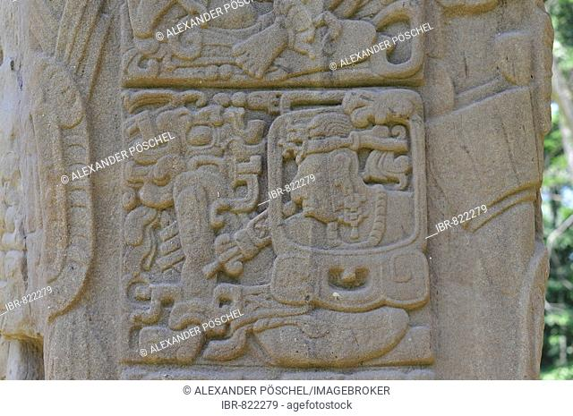 Detail, Stela D, Monument 4, ceremonial square of Quirigua, ancient Maya site in Guatemala, Central America
