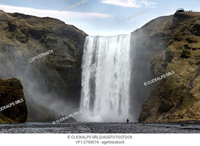 Man staring at Skogafoss waterfall, Skogar, Gardabaer, Capital Region, Iceland, Europe