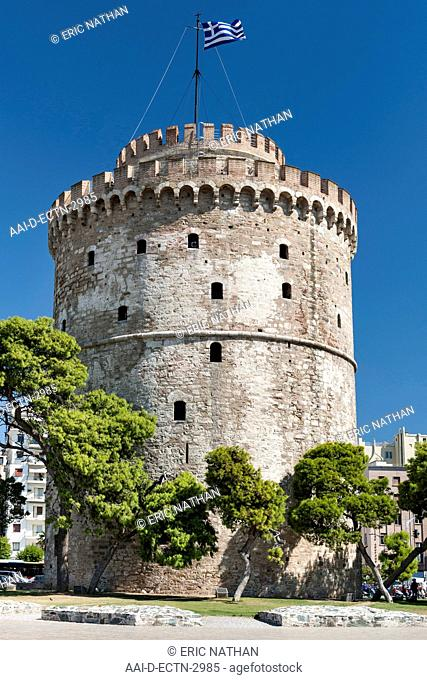 The White Tower (Lefkos Pyrgos) on the waterfront in Thessaloniki, Greece