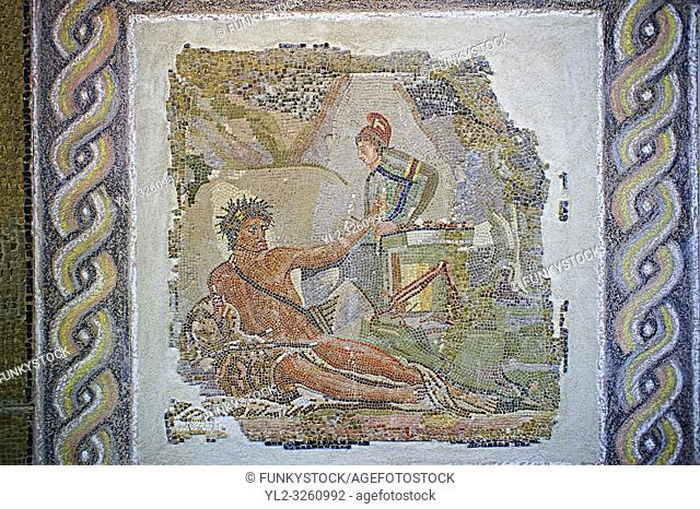 Roman floor mosaic depicting pastral scenes and scenes from mythology from a room of a villa in the locality Baccano near the Via Cassia, Rome