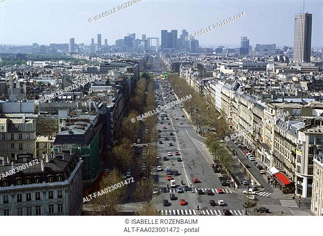 Paris, France, view on Avenue de la Grande Armee and La Defense