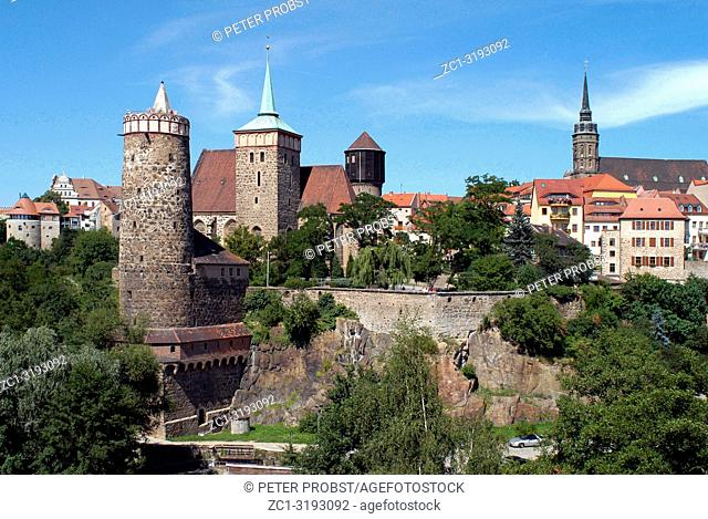 Old Town of Bautzen in Saxony with Old Waterworks, Church of Saint Michael, Saint Peter's Cathedral and Town hall tower - Germany