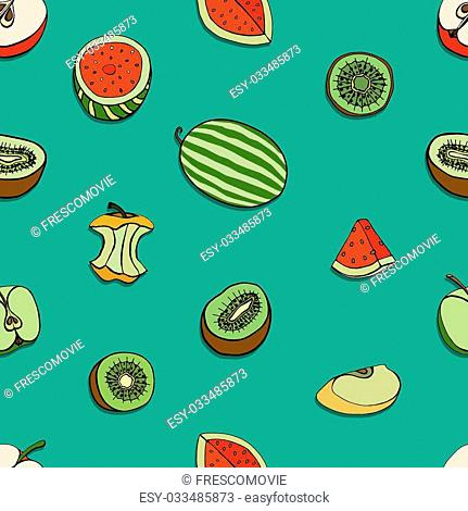 Vector Seamless Pattern of Sketch Fruits background