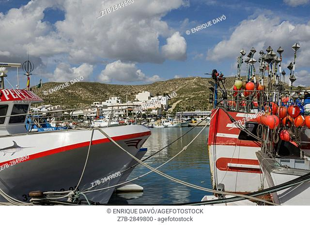 A fishing boats view in the Carboneras port, Almería province, Spain