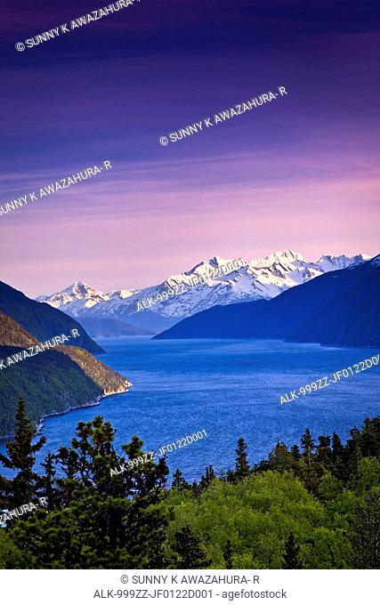 Scenic view of Lynn Canal and the Chilkat Mountains near Skagway at sunset, Southeast Alaska, Summer