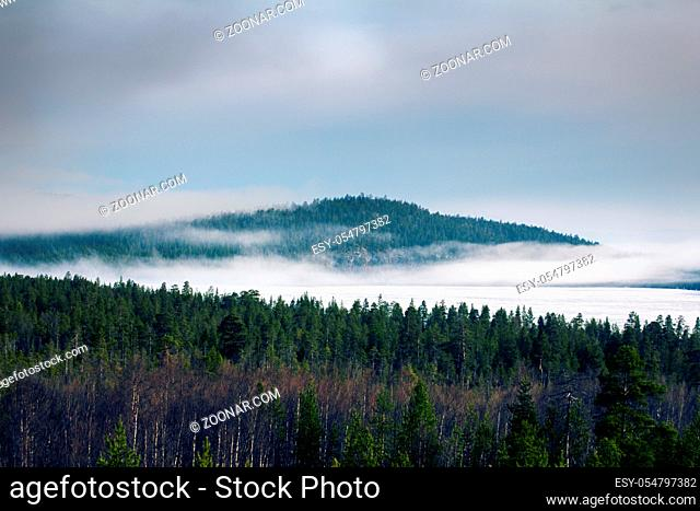 Autumn with forest and Northern misty lake. Lapland, Scandinavia