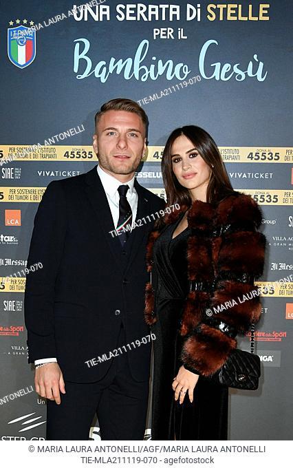 Football player of Lazio Ciro Immobile with wife Jessica Melena during the charity show ' Una serata di stelle' for the Hospital Bambino Gesu', Paul VI Hall