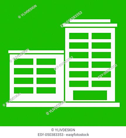Manufacturing factory building icon white isolated on green background. illustration