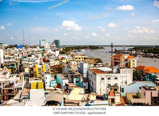 Vietnam, C?n Tho, Can Tho, Above the Roofs of C?n Tho. The river sông C?n Tho, C?n Tho is the capital of the Mekong Delta, largest city of the Mekong Delta